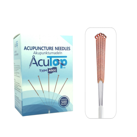 AcuTop® Akupunkturnadeln A5CC, Kupferwendelgriff, silikonisiert, 500 Stk. 0.30 x 50 [mm]